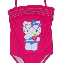 Toddler Girls One Piece Swimsuit Hello Kitty Sanrio Pink Ruffle Halter 2t 4t New Photo