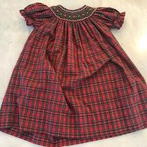 Toddler Girls Petit Bebe Smocked Holiday Bishop Dress 24 Mo Excellent Condition Photo