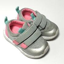 Toddler Girls Sneakers Silver W/ Pink Accents Size 5 by Cat & Jack Excellent Photo