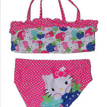 Toddler Girls Two Piece Swimsuit Hello Kitty Pink Polka Dot Ruffle Size 2t New Photo