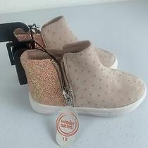 Toddler Girls Wonder Nation Polka Dot Stars  Sneaker Booties Size 10 Pink Shoes  Photo