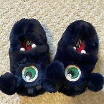 Toddler Monster Alien Animal Green Eye Blue Fleece Slippers Size 9 Lands End Photo