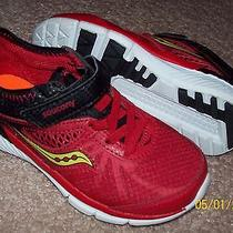 Toddler Saucony Black Red Leather Athletic Shoes Size 10.5 Nwob Photo