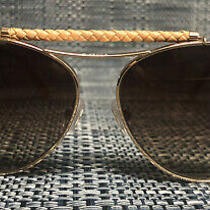 Tods Aviator Sunglasses in Rose Gold With Leather Braiding Photo
