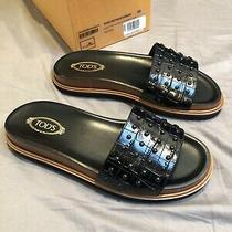Tods Leather Sandal Womens  Black and Brown - Size 8 Usa/size 39 Eur Retail 699 Photo