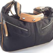 Tods Mickey Black Nylon Tan Leather Hobo Shoulder Bag Purse  Photo