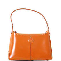 Tods Orange Leather Stitched Small Handbag in Dustbag Photo