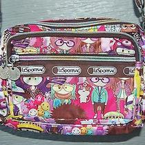 Tokidoki Le Sportsac Small Crossbody Purse Bright Colorful Print Brown Smiley Photo