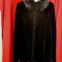 Tom Foolery Women Plus Black Zip Up Velour Knit Sweater Faux Fur Snap Off Collar Photo