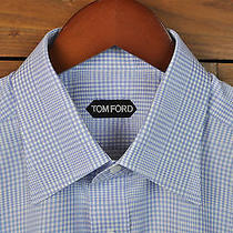Tom Ford 100% Cotton Light Blue Glen Plaid Dress Shirt 16-1/2 X 34 Photo