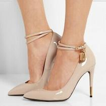 Tom Ford Ankle Padlock Nude Stiletto Pumps Size 38.5 Photo