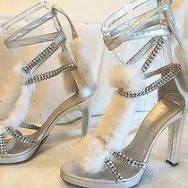 Tom Ford Gucci Platform Fur/rhinestone Ankle Wrap Silver Sandals Size 8.5 Photo