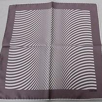 Tom Ford Light Gray and Ivory  Striped 100% Silk Pocket Square -10 Photo