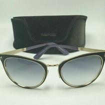 Tom Ford Nina 74b Black Gold Sunglasses Purple Blue Sides Tf373 56-21    Photo