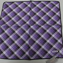 Tom Ford Purple and Black Checked 100% Silk Pocket Square -12 Photo