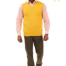 Tom Merritt Tank Top Size 52 / Xl Yellow Thin Knit v-Neck Made in Italy Photo