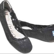 Tom's Metallic Ballet Flat in Black Metallic Nib 79 Photo