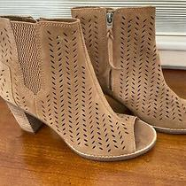 Tom's Open Toe Perforated Booties - Perfect Condition Beige Size 8 Photo