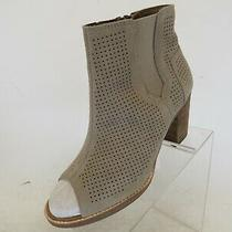 Tom's Taupe Suede Peep Toe Perforated Block Heeled Ankle Boots Booties Sz 8.5 M  Photo