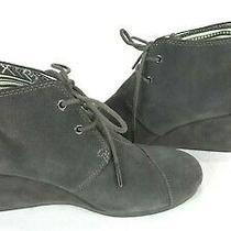 Tom's Women's Size 9 Wide Gray Suede Leather Wedge Lace Up Ankle Boots  Photo