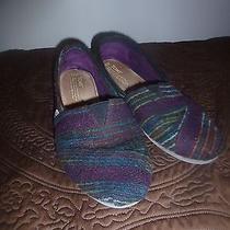 Tom's Women's Slippers Size 11w Knit Outer Purple & Blues Photo