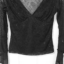 Tom Tom Sheer Blouse Sm Black Bling Glitter Flare Cuffs Club Wear Euc Photo