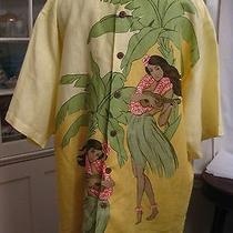 Tommy Bahama 100% Linen Hawaiian Shirt Men's Size Xl Hawaiian Girls Photo