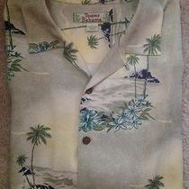 Tommy Bahama 100% Silk Jacquard Camp Shirt Hawaiian Sunset Hibiscus Palm Tree L Photo