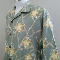 Tommy Bahama Bamboo Floral Hawaiian Silk Shirt Size Medium Free Shipping Photo