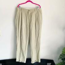 Tommy Bahama Beige Tan Silk Pleated Trousers Sz 38 Cuffed Pants Men's Photo
