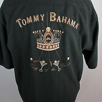 Tommy Bahama Black 100% Silk Embroidered King of the Green Shirt L Photo