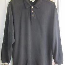 Tommy Bahama Black Silk Long Sleeve Polo Shirt Men L Excellent Photo