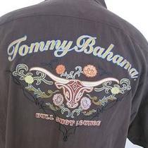 Tommy Bahama Brown 100% Silk Bull Shot Lounge Camp Hawiian Shirt Size L Large Photo