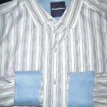 Tommy Bahama Button Dress Shirt -Xl- White Blue Red Stripe L/s- Aloha -Flip Cuff Photo