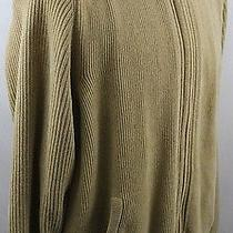 Tommy Bahama Cream Tan Full Zip Pullover Sweater Jacket Large L Striped Pattern Photo