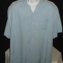 Tommy Bahama Embossed Palms 100% Silk Baby Blue Hawaiian  Camp Shirt Xl Photo