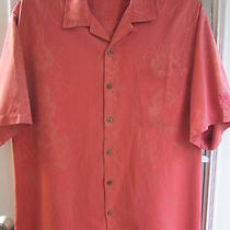 Tommy Bahama Fiery Red Silk Button Front Short Sleeve Shirt Men L Very Good  Photo
