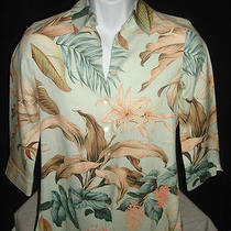 Tommy Bahama Floral Lilly Scarf Print Silk Blouse Sz. Xs (2) Gorgeous Photo