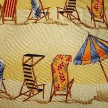Tommy Bahama Hawaii Silk  Necktie Beach Chairs Yellow 58.5 X 4
