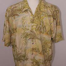 Tommy Bahama Hawaiian 100% Silk Shirt Palm Leaves Camp Aloha Size Xl B2 Photo