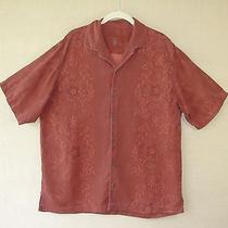 Tommy Bahama  Hawaiian Shirt L Large Silk Wine Burgundy Red Photo