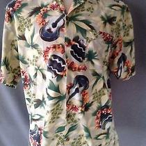 Tommy Bahama Hawaiian Shirt Size Large Rayon Cotton Floral Drums Leigh Ukulele Photo