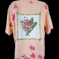 Tommy Bahama Hawaiian Shirt Top Silk Orange Embroidery Mother Pearl Buttons Sz M Photo
