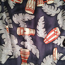 Tommy Bahama Hawiian  Gray Tribal Drum and Leaves Print 100% Silk  Size Large Photo