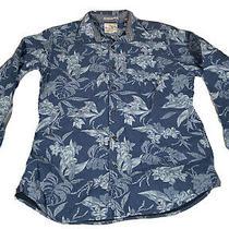 Tommy Bahama Jeans Longsleeve Shirt Medium Floral 100% Cotton Blue Button Photo