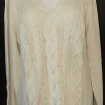 Tommy Bahama Kashmir L/s Sweater Sun Bleached Sand Heather Medium New With Tags Photo