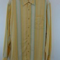 Tommy Bahama Men Button Down Dress Shirt Sz Small Yellow/green Stripes Photo