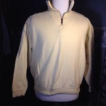 Tommy Bahama Men's 1/4 Zip Light Yellow Cotton Sweater Size Medium Euc  Photo