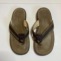 Tommy Bahama Mens 10 Anchors Away Brown Leather Flip Flop Sandals Slip on Shoes Photo
