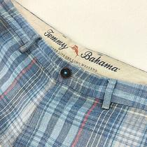 Tommy Bahama Men's Linen/tencel Flat Front Shorts Blue Plaid  Size 32 Photo
